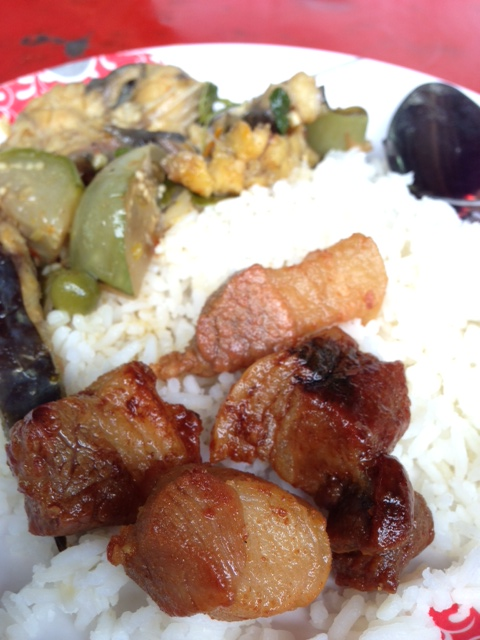 Deep-fried pork belly and curry on rice at Mae Awn