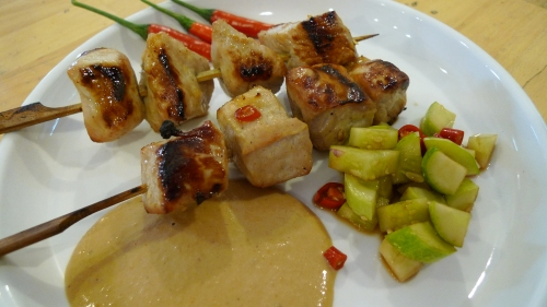 Our pork and chicken satay