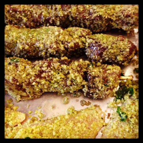 Tuna skewers and white mullet dusted with pistachio, garnish of the gods