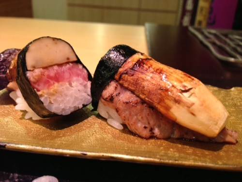 To celebrate the season: grilled matsutake and tuna sushi at Garyu in Tokyo