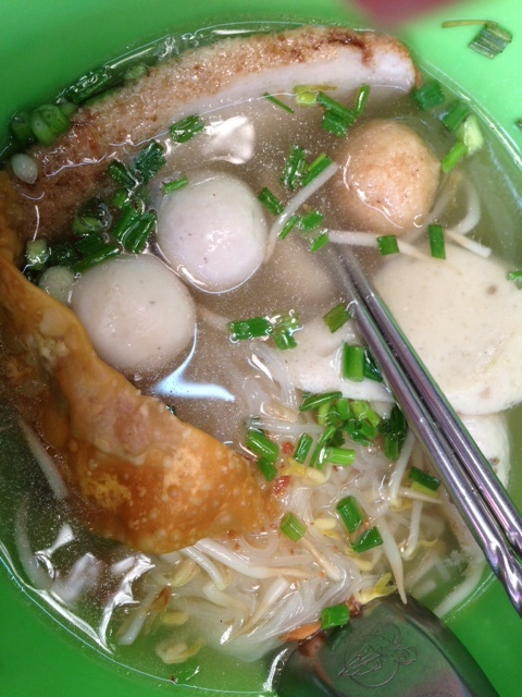 Clear broth fish noodles at Raan Lao Sa