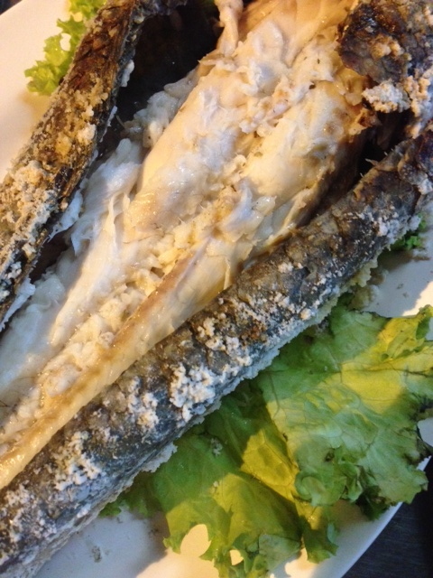 Fish grilled in a salt crust at Jay Dang