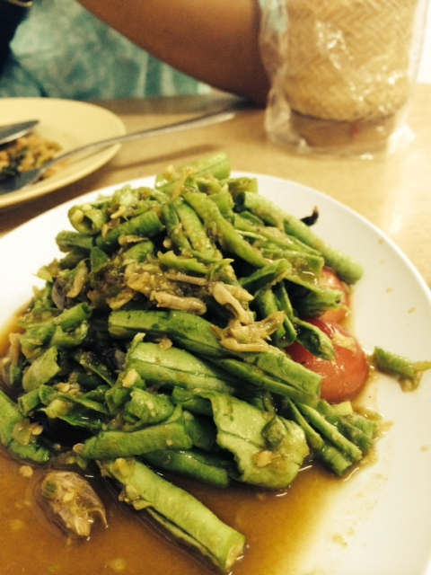 A som tum of green beans at Nomjit