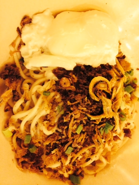 Pan mee from Kin Kin: noodles with dried fish, minced pork, chili and a poached egg