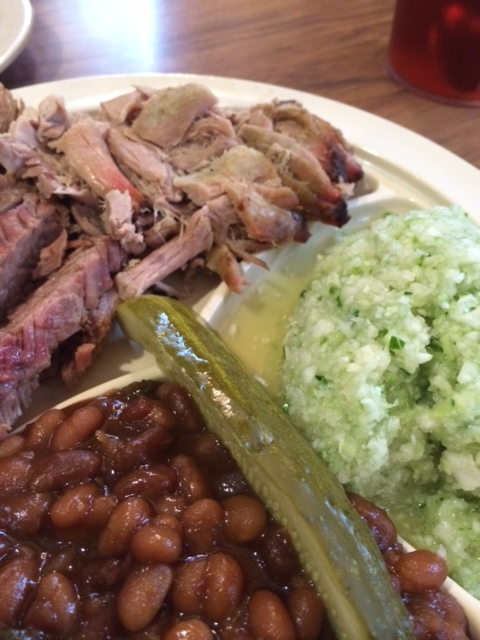 Brisket and pulled pork with beans, slaw and a pickle at Big Bob Gibson's in Decatur, Alabama