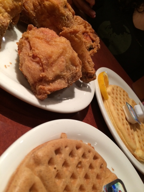 Fried chicken with original and apple-cinnamon waffles