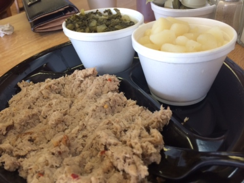Bar-B-Q with turnip greens and granny potatoes