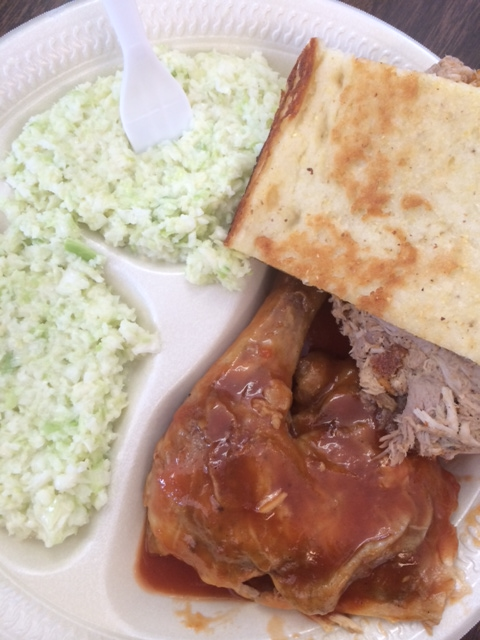 "Barbecued chicken and ""pork BBQ"" with slaw and cornbread"