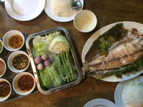 """""""Pla pow"""", or grilled fish, at Mae Fai Pla Pow"""