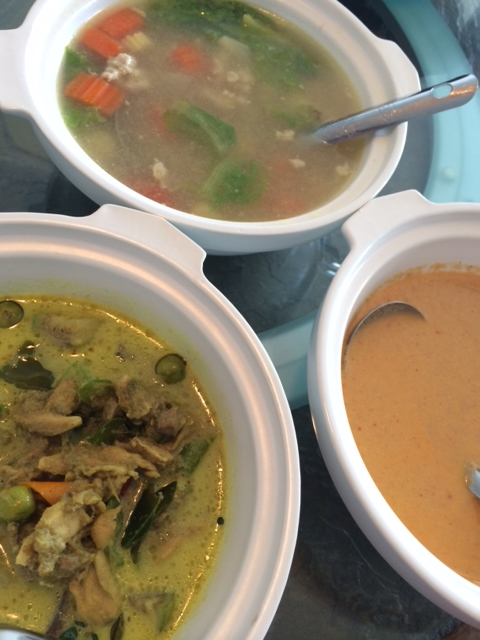 A trio of favorites: green curry, shredded chicken curry and clear soup