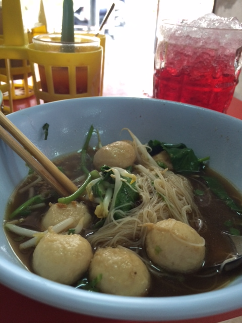 Rice vermicelli in pork broth with meatballs at Wor Rasamee