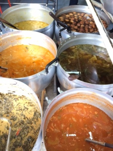 A selection of curries and soups at a Thonglor khao gang stall