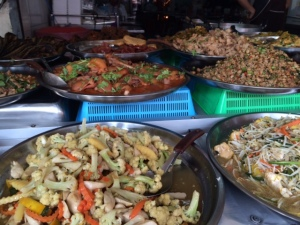 "A selection of stir-fry dishes along the ""khao gang"" stretch of Thonglor Road"