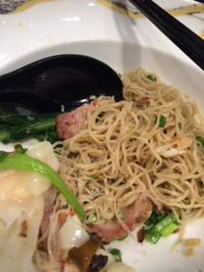 Egg noodles with wontons and barbecued pork at Bamee Sawang at Emporium