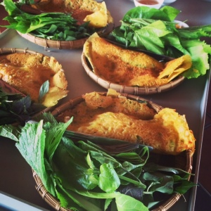 Banh xeo, or stuffed Vietnamese crepe, named after the sound the batter makes when dropped in the pan