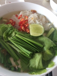 A typical bowl of pho with maybe a few more chilies than usual