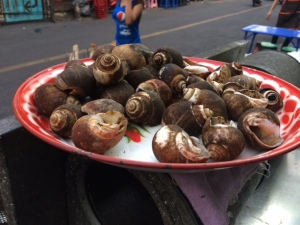 Grilled snails on the street at Sukhumvit 38