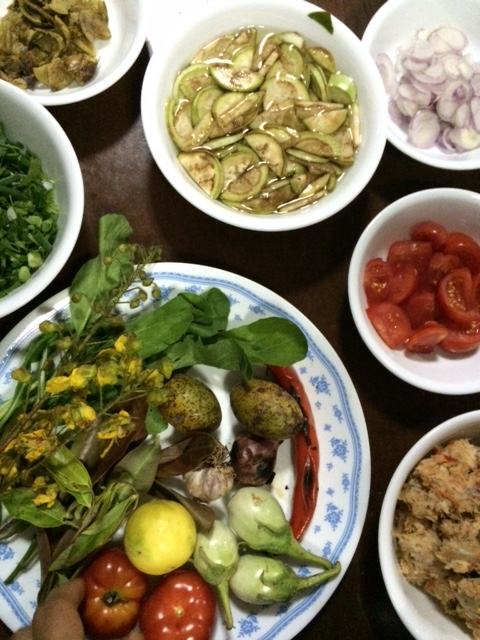 The ingredients for saa pak, a Northern Thai salad